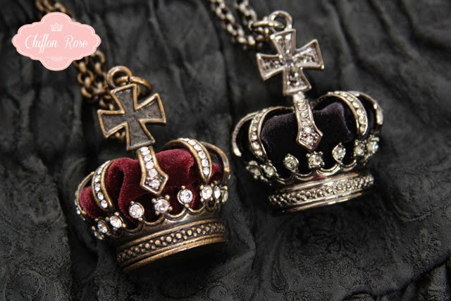 sheglit gothic lolita fashion chiffon rose shop kawaii tokyo japanese fashion crown pendant