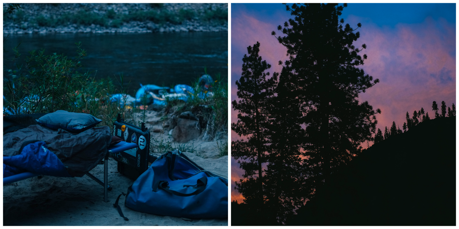 canyon sunset, open-air camping