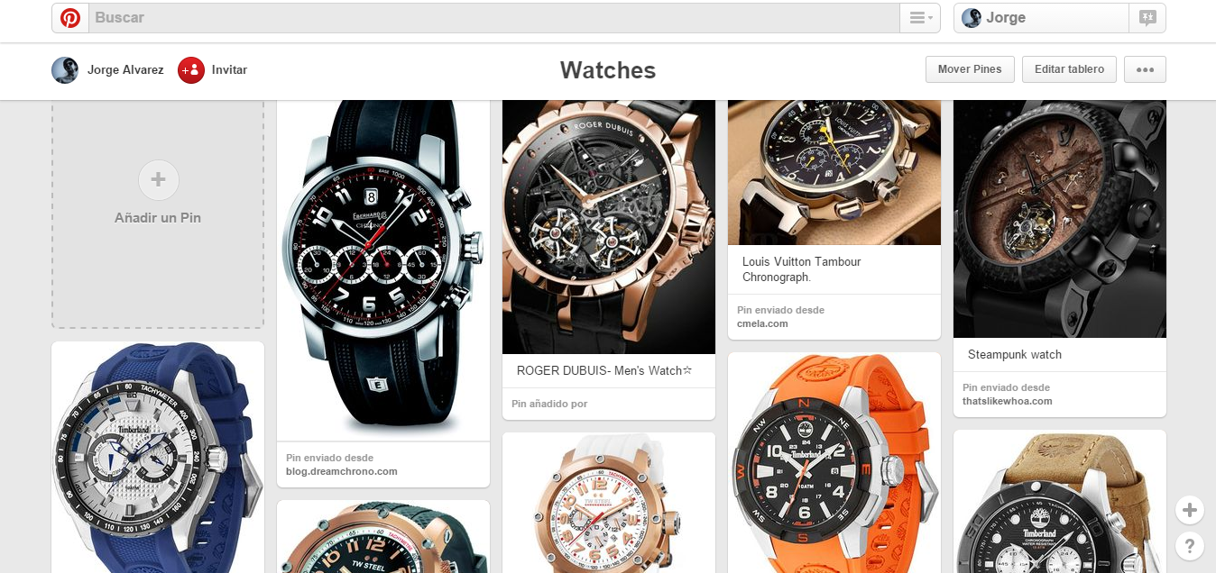 Tablero sobre relojes ten Pinteres