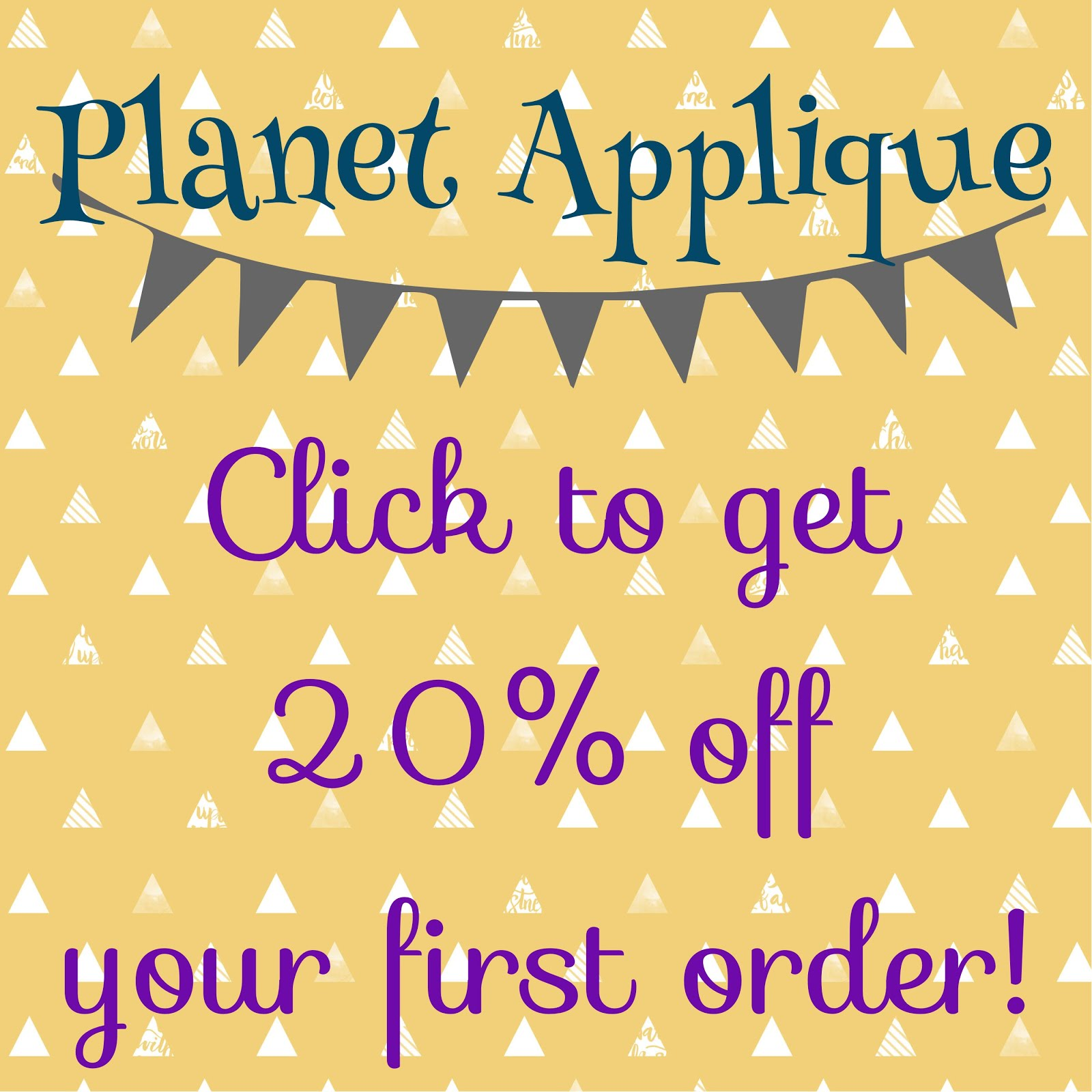 Click to get 20% off at Planet Applique!