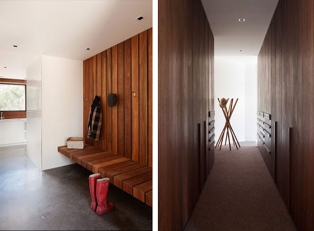 Built in Wooden Bench and Wall Panel with Hook and Hallway with Wall to Wall Carpet
