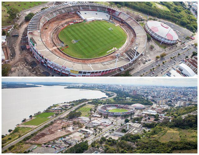 Situação das obras do estádio Beira Rio em julho de 2012