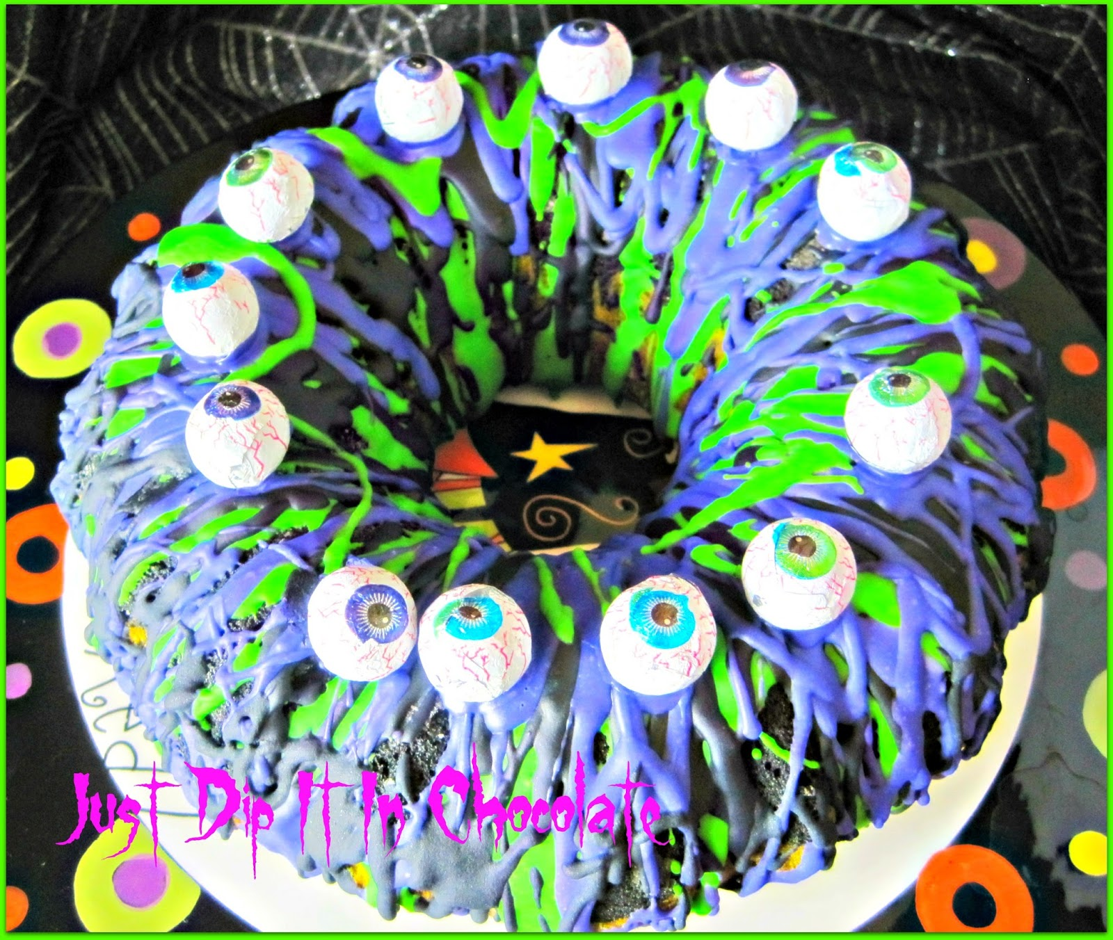 Halloween Bundt Cake Decorations Just Dip It In Chocolate Eye Of Newt Halloween Bundt Cake Recipe