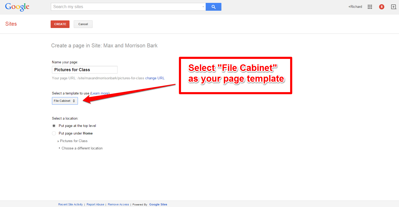 free technology for teachers use google sites file cabinet