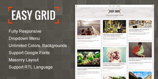 Banner: Easy Grid - Responsive Portfolio Masonry Blogger Template