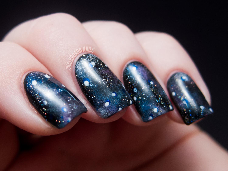 Into the Glitterverse: Galaxy Nails | Chalkboard Nails | Nail Art Blog