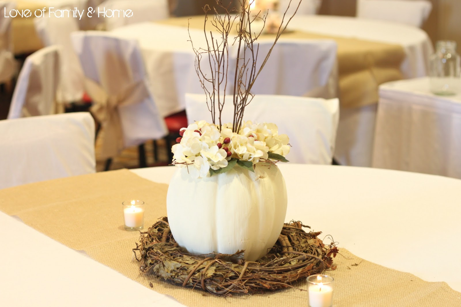 Diy rustic chic fall wedding reveal love of family for Table centerpieces for home