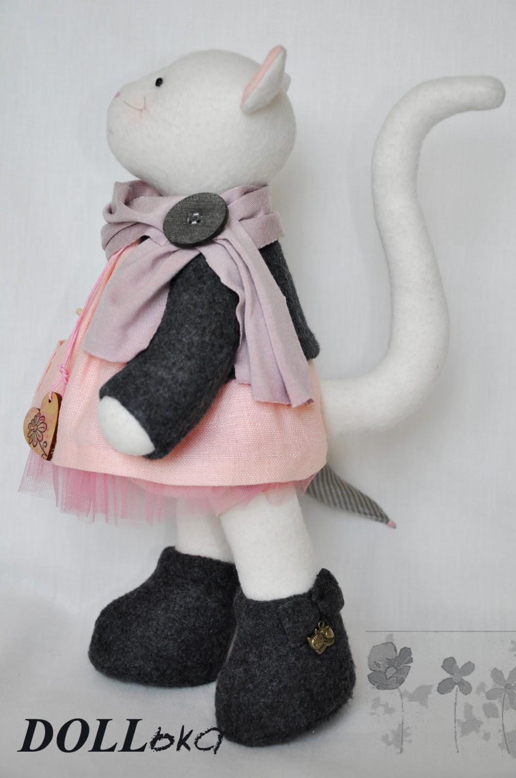 тильда кошка текстильная игрушка ручной работы