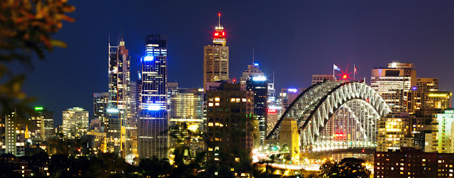 A photograph of the Sydney skyline taken after sunset