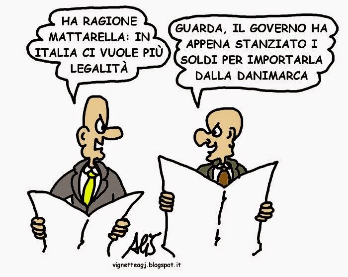 Mattarella, legalità, vignetta , satira
