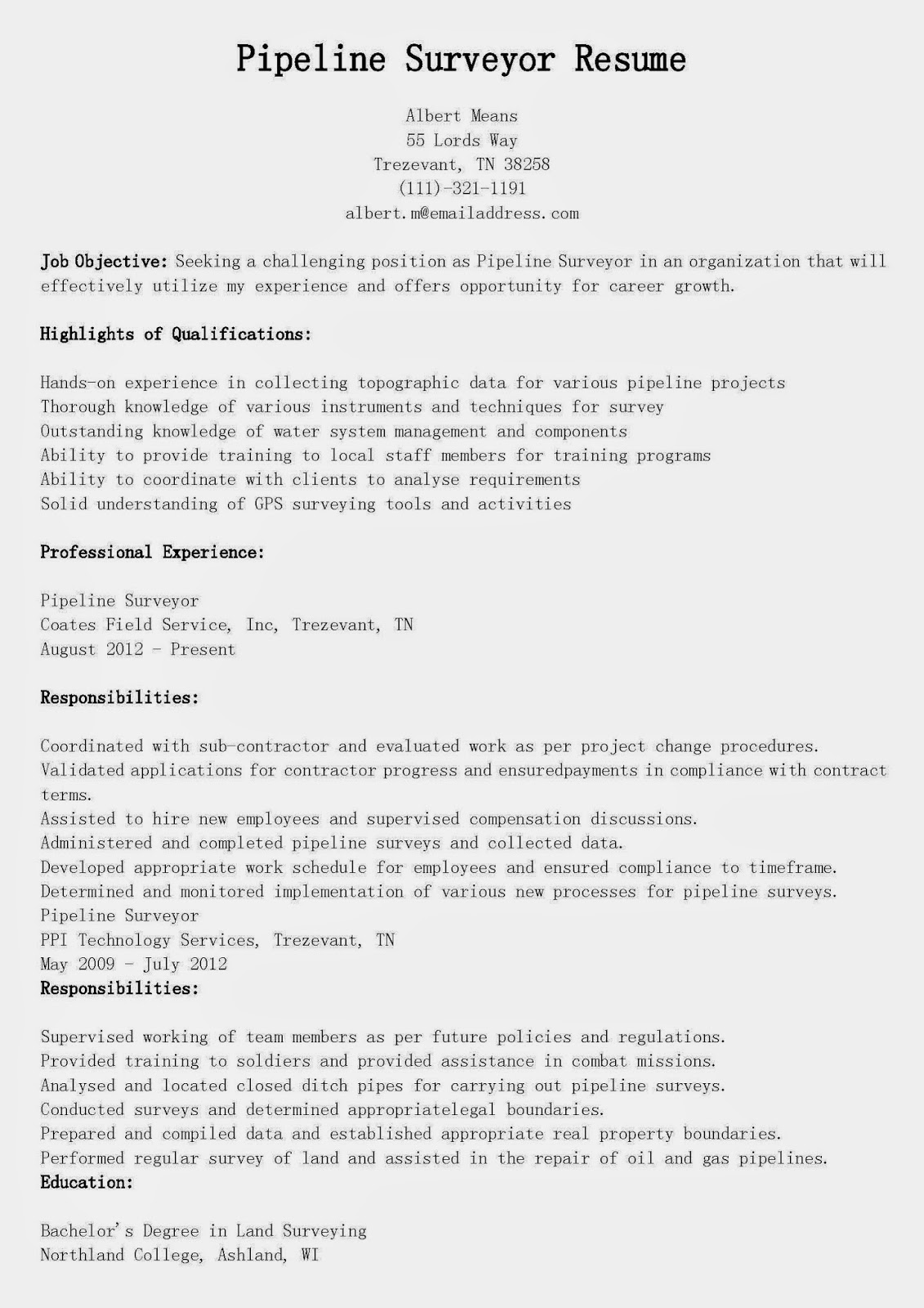 Land surveyor resume examples