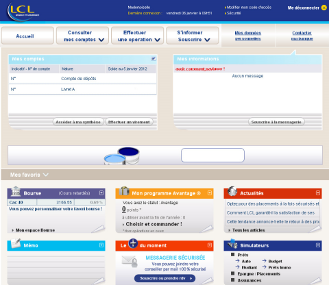 Capture d'écran LCL
