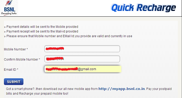 fill mobile number