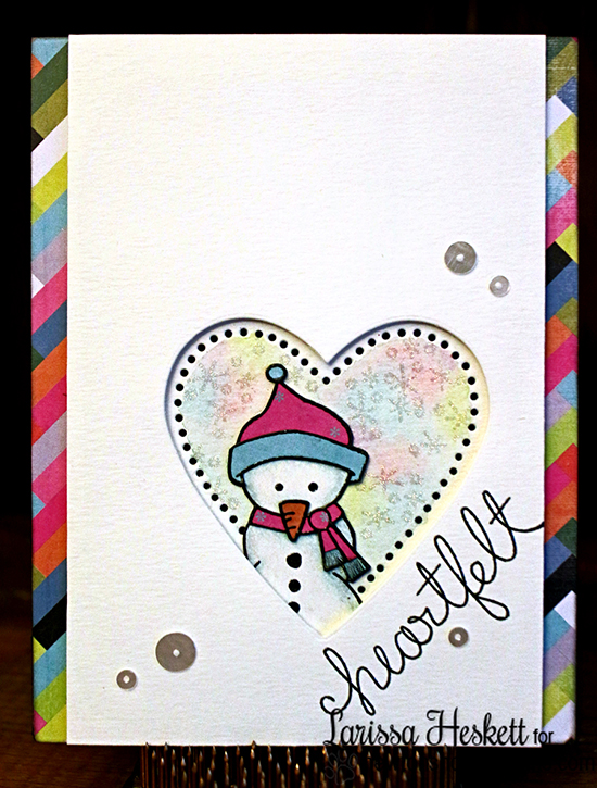 Heartfelt Snowman card by Larissa Heskett | Frozen Friends Stamp set by Newton's Nook Designs