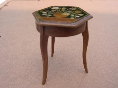 Table,Marqueterie,Miniature,Fleurs