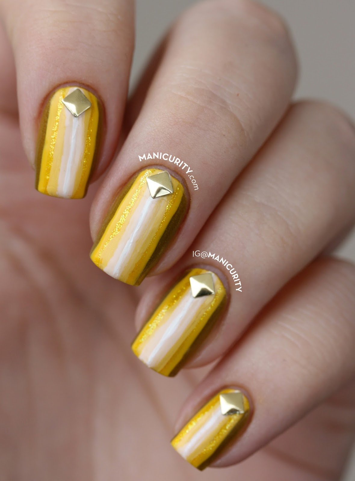 Manicurity.com | Digit-al Dozen: And It Was All Yellow... Striped Nails! Ombre Yellow Striped Nail Art