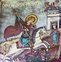 Scena pictata din biserica romaneasca - Sfântul Gheorghe, anonim, 1818, Pojogi, jud. Vâlcea
