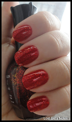 kleancolor chunky holo scarlett swatches with revlon fire base