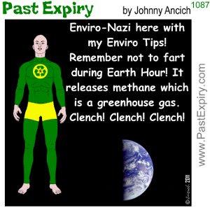 [CARTOON] Earth Hour. cartoon, environment, superhero, EnviroNazi, fart, pollution