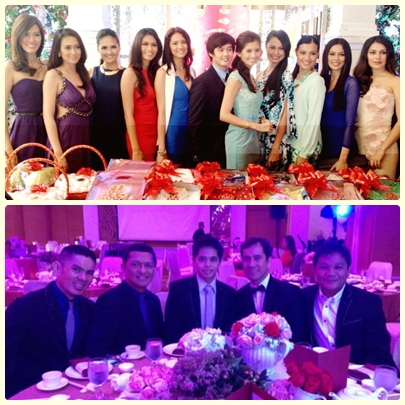 Shamcey and Lloyd with friends from Binibining Pilipinas and Aces and Queens during their engagement ceremony