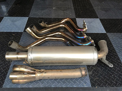 Exhaust, cat bypass pipe and manifold prior to polishing
