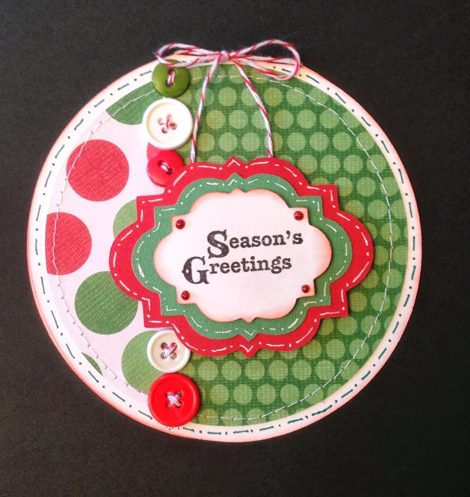 Scrap N Sew With Amy Seasons Greeting Circle Christmas Card