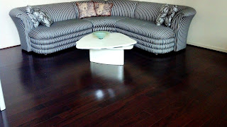 dark stained tigerwood exotic plank hardwood floor