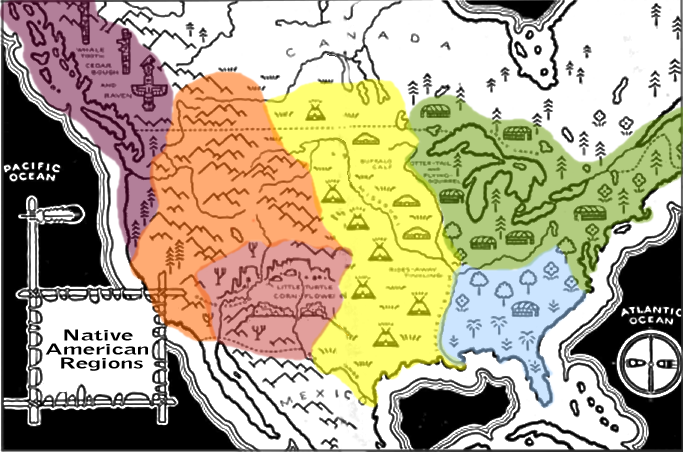 Room US History Map Of Native American Cultural Regions - Us native american map