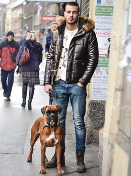 mens cool casual winter street style fashion: padded jacket, workboots, lace up boots, Filip Krezo, student kineziologije i Argo, street style Zagreb, handsome guys and dogs street fashion