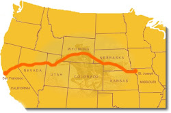 THE PONY EXPRESS ROUTE 1860 - 1861