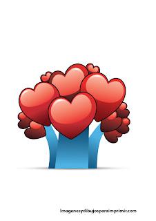 Arbol con pequeños corazones