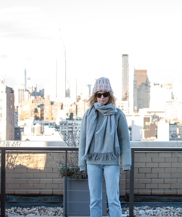 Fashion Over Reason, Alexander Wang x H&M men's scuba neoprene sweatshirt, H&M chunky beanie, Levi's vintage button fly 501s, Ray-Ban Wayfarers