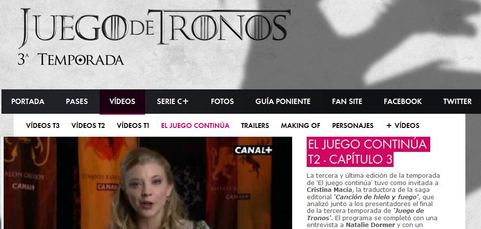 Imagen de la serie ´Juego de Tronos´ en la web de Canal Plus España