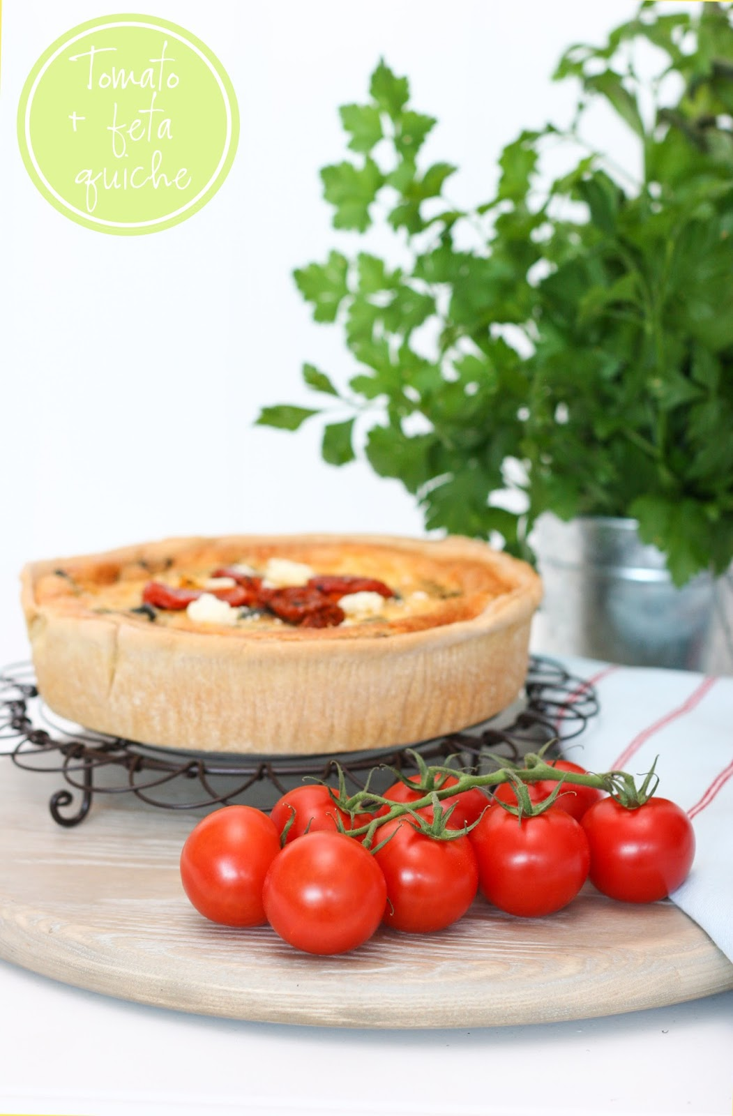 Coastal style my tomato feta quiche for Decoration quiche