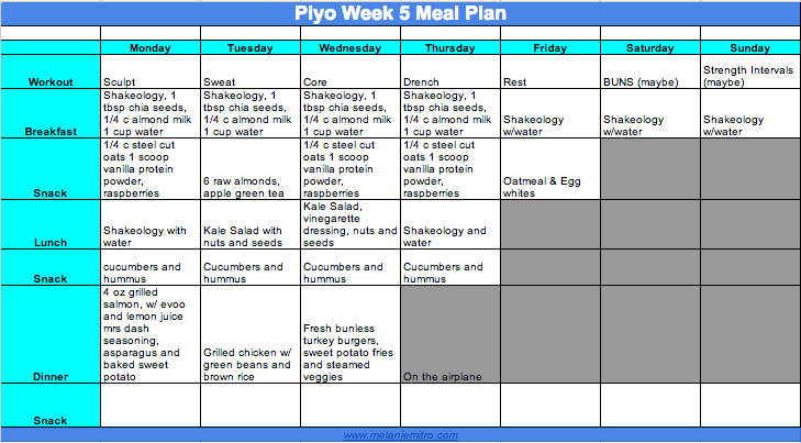 Piyo Week 5 Meal plan