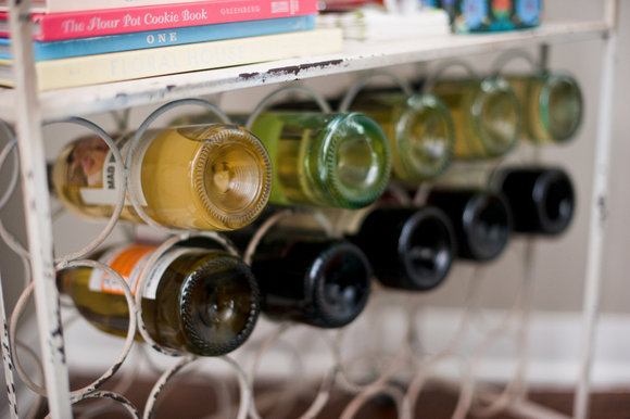 Wine bottles filling your bar cart look pretty.