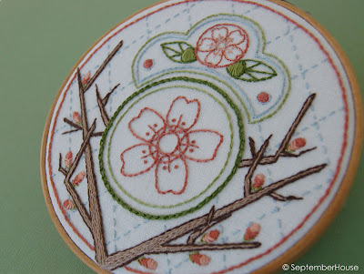Japanese embroidery designs cherry blossom hand embroidery pattern