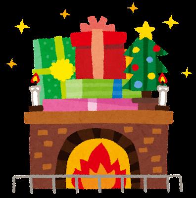 クリスマスのイラスト「暖炉」