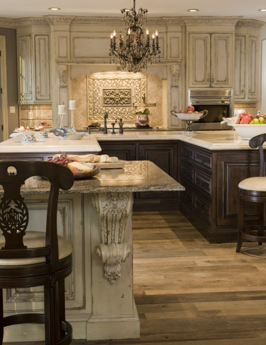 This Kitchen Features Dark Stained Lower Cabinets And Painted Upper