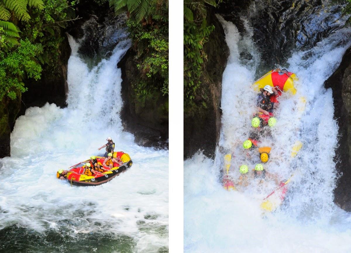 Surviving the first large waterfall - Kaituna river, Rotorua