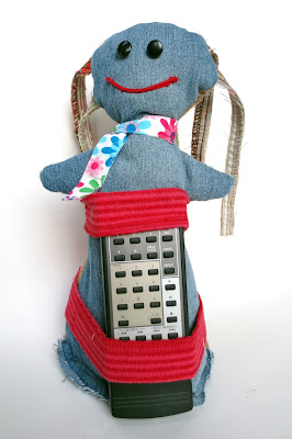 remote holder -- Rag doll repurposed from fabric scraps, denim and burlap