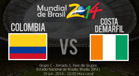 ver colombia vs costa de marfil