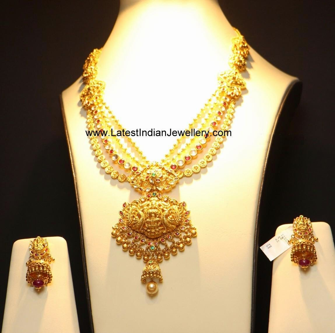 multi layered lakshmi gold necklace