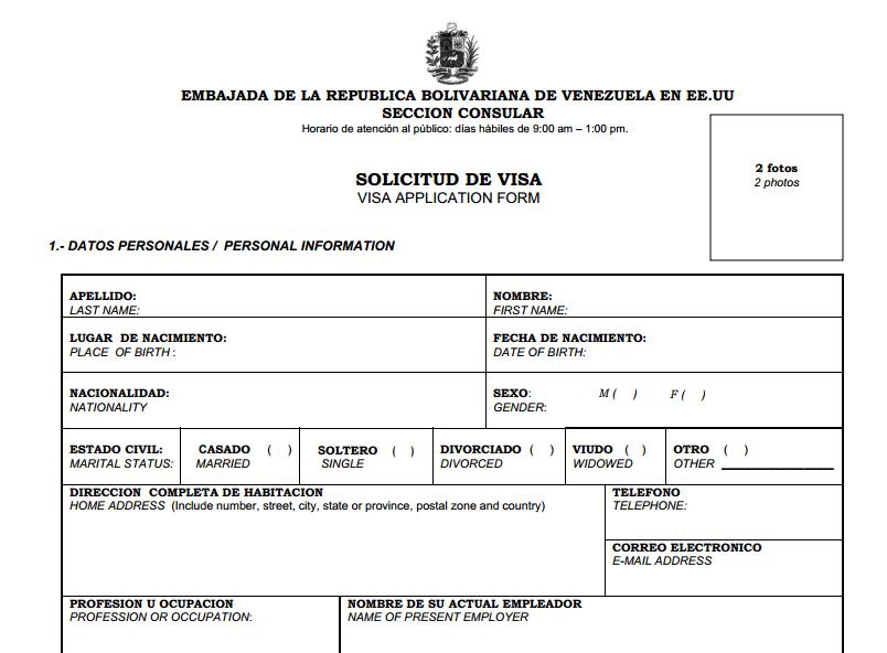 Esta Es La Planilla Para Solicitar La Visa Para Venezuela