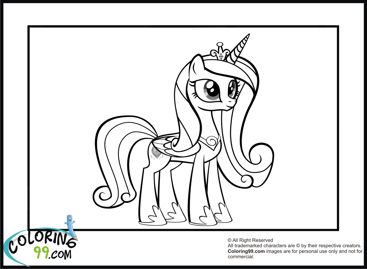 Princess Cadence Coloring Pages Team Colors My Pony Princesses Coloring Pages