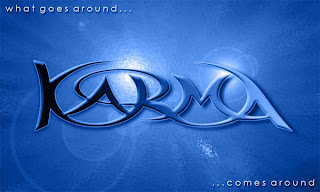 Karma what goes around comes around image on blue background