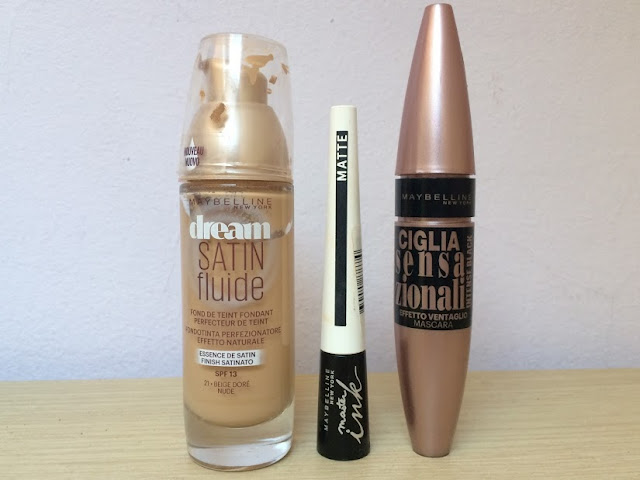 First Impressions: Maybelline Dream Satine Fluide Foundation+Master Ink Matte Eyeliner+Lash Sensational Mascara
