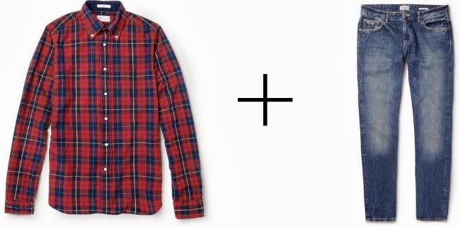 camisa de cuadro leñador y vaqueros desgastados