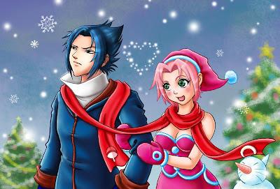 Sasuke y Sakura en Navidad (commission) Christmas