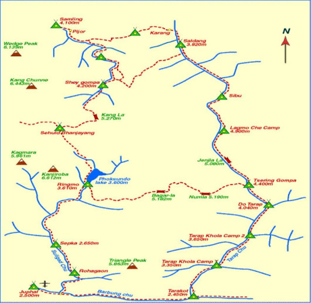 Upper dolpo Trekking map